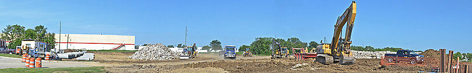Image shows construction in progress for the new Homemakers' distribution center coming to Urbandale.