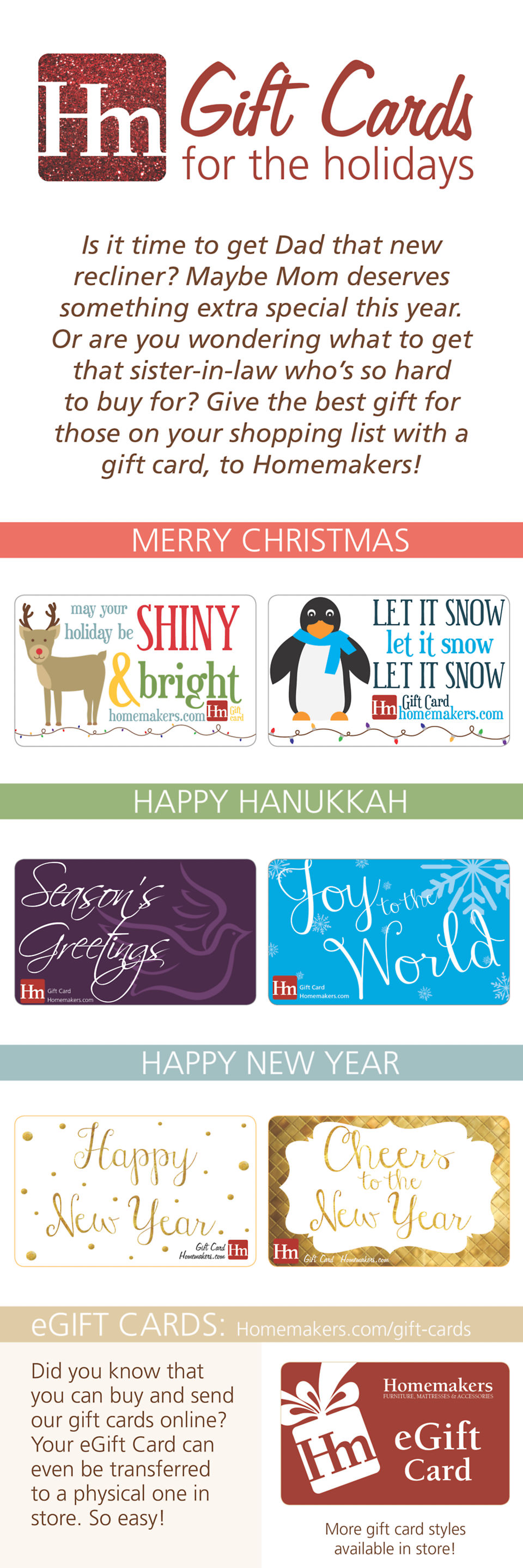 Homemakers Furniture Holiday Gift Card Infographic