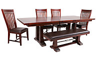 Intercon Hayden Trestle Table, 4 Chairs & 1 Bench
