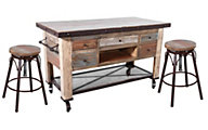Int'l Furniture Antique Kitchen Island & 2 Stools