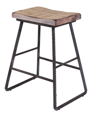 Int'l Furniture Pine and Rebar Counter Stool