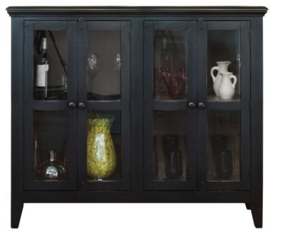 Int'l Furniture Antique Black Console with 4 Doors