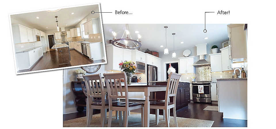 Before and after view of a kitchen designed by one of our In-Home Design Consultants.
