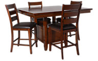 Jofran Taylor Brown Cherry Counter Table & 4 Stools