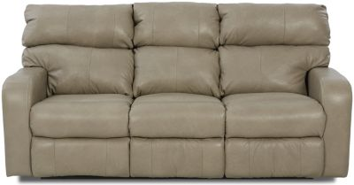 Klaussner Bradford Taupe 100% Leather Power Reclining Sofa