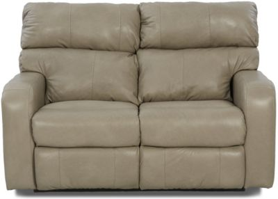 Klaussner Bradford Taupe Leather Power Reclining Loveseat