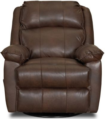 Klaussner Brandt Espresso Leather Swivel Glider Recliner