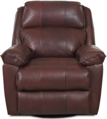 Klaussner Brandt Coffee Leather Swivel Glider Recliner