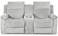Klaussner Castaway Gray Reclining Loveseat with Console