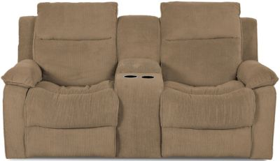 Klaussner Castaway Tan Reclining Loveseat with Console