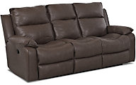 Klaussner Castaway Espresso Leather Reclining Sofa