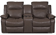 Klaussner Castaway Espresso Leather Reclining Loveseat