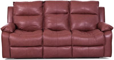 Klaussner Castaway Red Leather Power Reclining Sofa