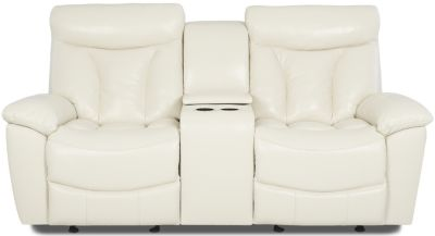 Klaussner Deluxe Leather Power Reclining Console Loveseat