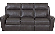 Klaussner Impala Gray Leather Reclining Sofa