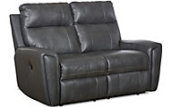 Klaussner Impala Gray Leather Reclining Loveseat