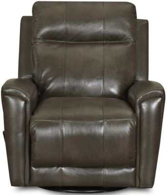 Klaussner Priest Slate Leather Swivel Gliding Recliner