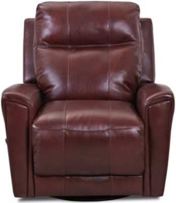 Klaussner Priest Dark Cherry Leather Swivel Gliding Recliner