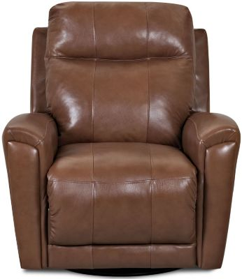 Klaussner Priest Mocha Leather Swivel Gliding Recliner
