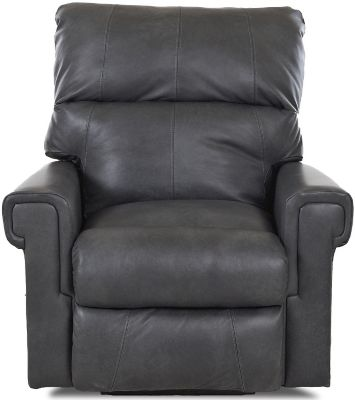 Klaussner Rivera Gray Leather Power Recliner