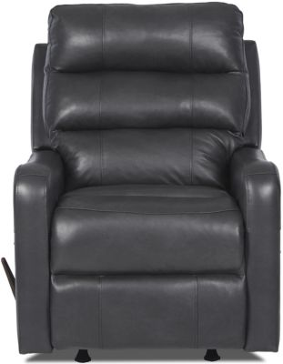 Klaussner Striker Charcoal Leather Rocker Recliner