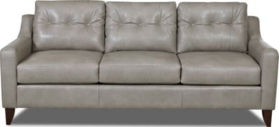 Klaussner Audriana Gray 100% Leather Sofa