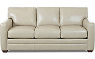 Klaussner Fedora Cream Leather Sofa