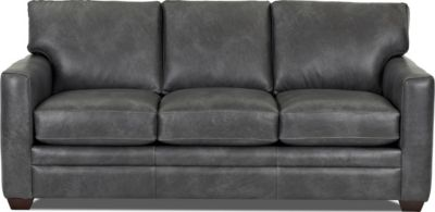 Klaussner Fedora Charcoal 100% Leather Sofa