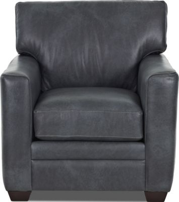 Klaussner Fedora Charcoal 100% Leather Chair