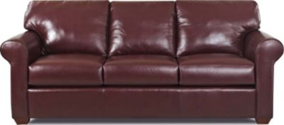 Klaussner Canoy Burgundy Leather Queen Sleeper