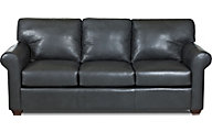 Klaussner Canoy Charcoal 100% Leather Queen Sleeper Sofa