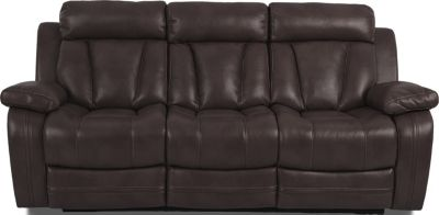 Klaussner Atticus Brown Reclining Sofa with Drop Down Table