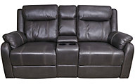 Klaussner Domino Reclining Loveseat with Console