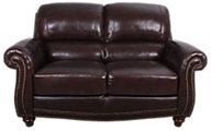 Leather Italia James 100% Leather Loveseat