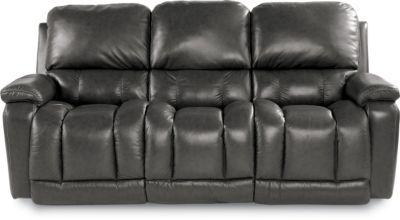 La Z Boy Greyson Gray 100 Leather Reclining Sofa
