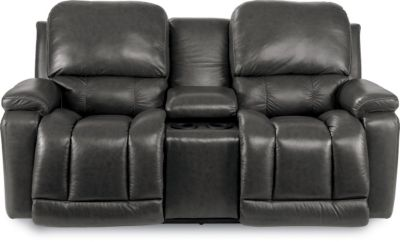 La Z Boy Greyson 100 Leather Reclining Loveseat W Console