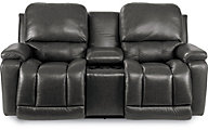 La-Z-Boy Greyson 100% Leather Reclining Loveseat w/Console