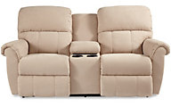 La-Z-Boy Briggs Cream Reclining Loveseat with Console