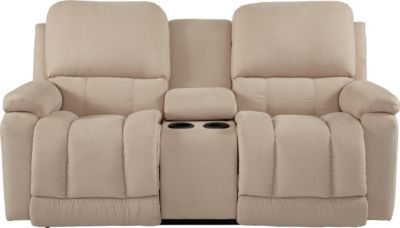 La-Z-Boy Greyson Cream Reclining Loveseat with Console