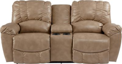 La-Z-Boy Hayes Tan Reclining Loveseat with Console