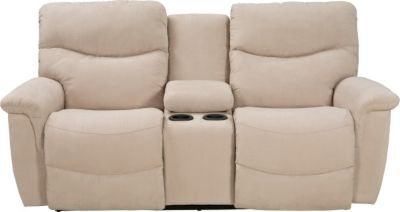 La-Z-Boy James Cream Reclining Loveseat with Console