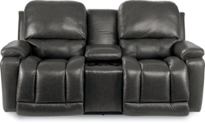 La-Z-Boy Greyson 100% Leather Gray Power Loveseat