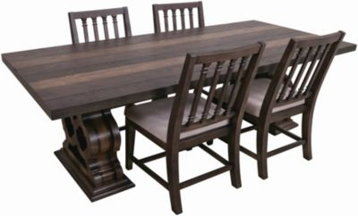 Magnolia Home Traditional Double Pedestal Table & 4 Side Chairs