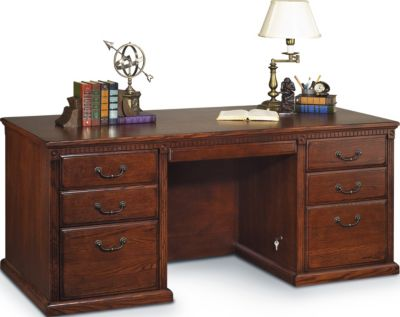 Martin Furniture Huntington Burnished Double Pedestal Desk