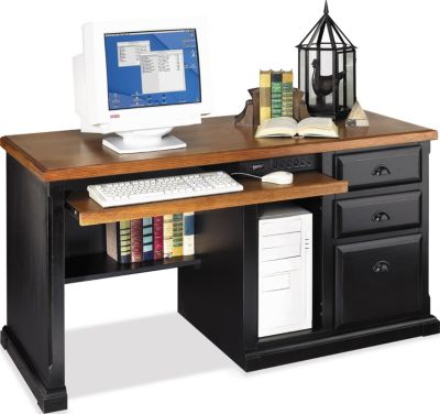 Martin Furniture Southampton Onyx Black Single Pedestal Desk