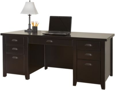 Martin Furniture Tribeca Loft Black Double Pedestal Executive Desk