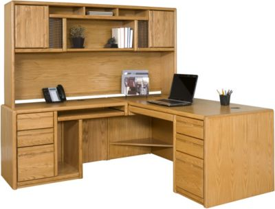 Martin Furniture Contemporary Office LHF Desk with Deluxe Hutch