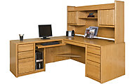 Martin Furniture Contemporary Office LHF Desk with Bookshelf Hutch