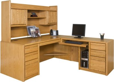 Martin Furniture Contemporary Office RHF Desk with Bookshelf Hutch
