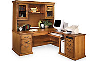 Martin Furniture Huntington Wheat RHF Desk with Hutch